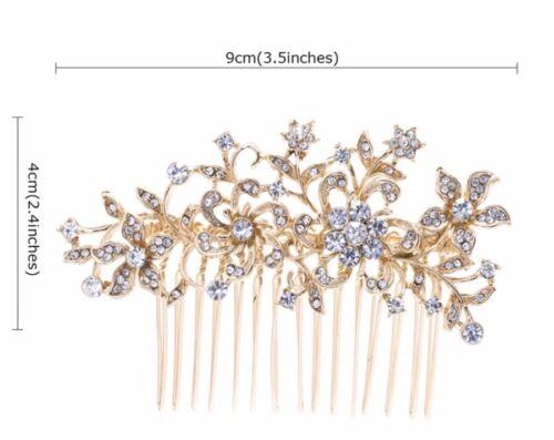 Mariage Clair Autrichien Cristal Or Fleur Pince à Cheveux Peigne Head Piece