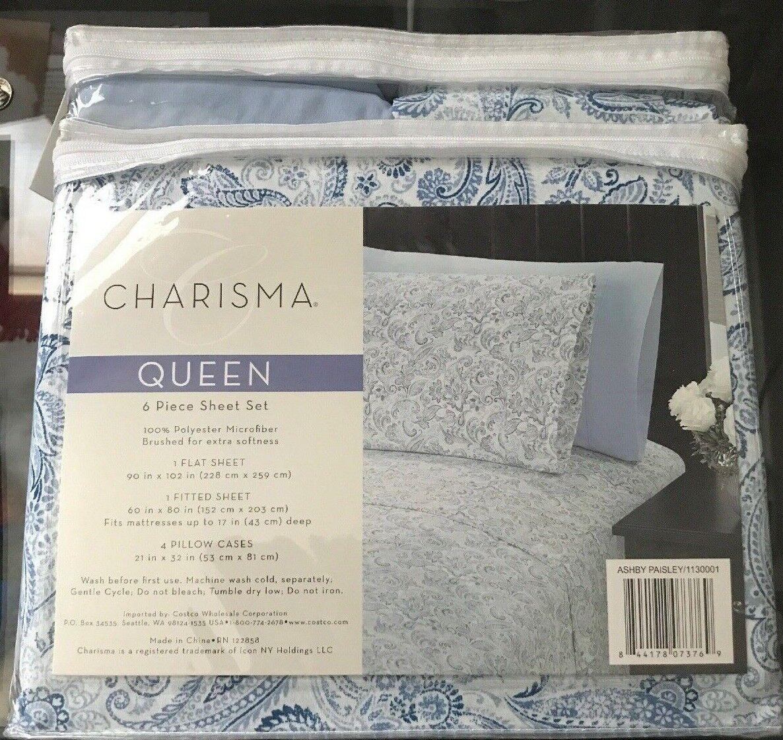 Charisma Königin  6 pc. Sheet Set In Blau Paisley Drucken Farbe