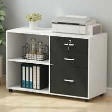 Modern Rolling 3 Drawer File Cabinet Lateral Filing Cabinet With Storage Shelves