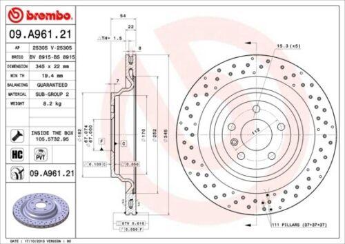 2x BREMBO Bremsscheibe COATED DISC LINE 09.A961.21 für MERCEDES GLE 345mm hinten