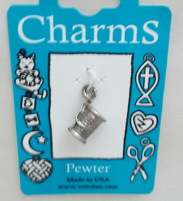 8 Sewing Charms Antique Bronze Tone Spool and Thread BC085