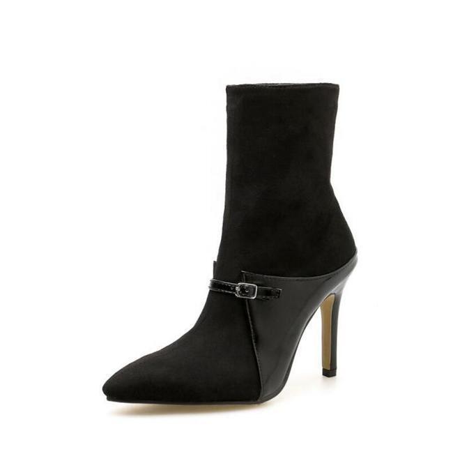 Stiefel Niedrig Stilett 9.5 Schwarz Knöchelschuhe Leder Kunststoff 1513