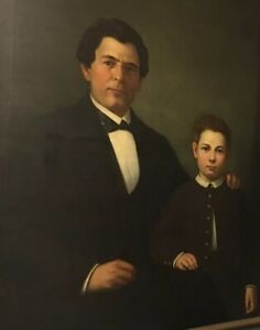 1850's Large Oil Painting George Howard Friend & Charles Wellington Friend