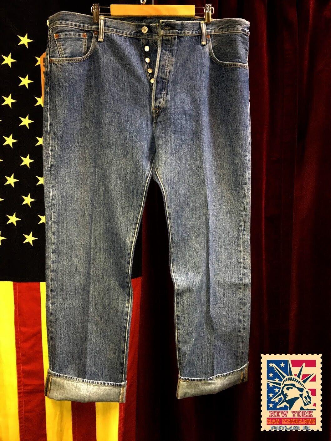 Levi's 501 Jeans Distressed Faded Denim W42 L34 8… - image 1