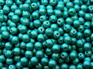 40pcs-Top-Hole-Round-Beads-6mm-Color-Trends-Satin-Metallic-Teal