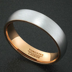 Mens Wedding Band Tungsten Ring Two Tone 6mm White With Rose Gold