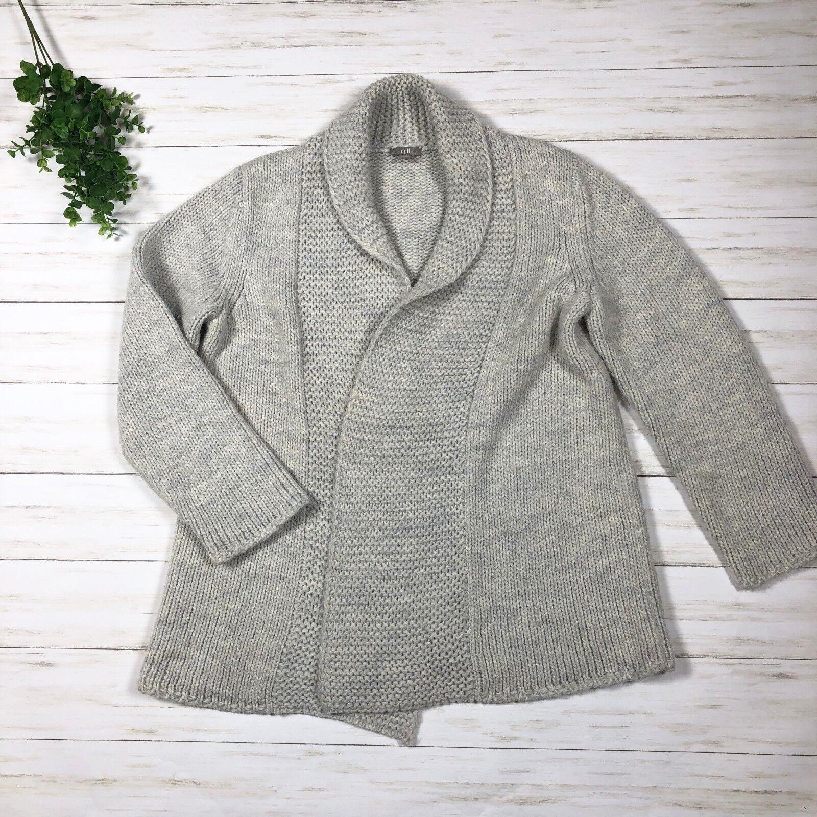 J. Jill Petite Alpaca Blend Blend Blend Sweater Cardigan sz M comfy knit light grey chunky a34a17