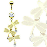 Gold Plated Stainless Steel Triple Dangle CZ Dragonfly Belly Bar / Navel Ring