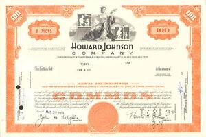Vintage Howard Johnson Hotel /& Restaurants Stock Certificate
