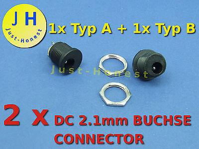 Stk. 2x DC 2.1mm BUCHSE / STECKER /EINBAUBUCHSE / HOHLSTECKER Connector Jack