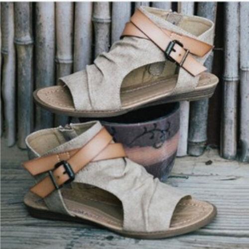 Women/'s Roman Gladiator Flats Sandals Hollow Fashion Back Zipper Shoes US6.5-10