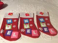 Lot Of 3 Christmas Stockings 16 Felt Applique noel