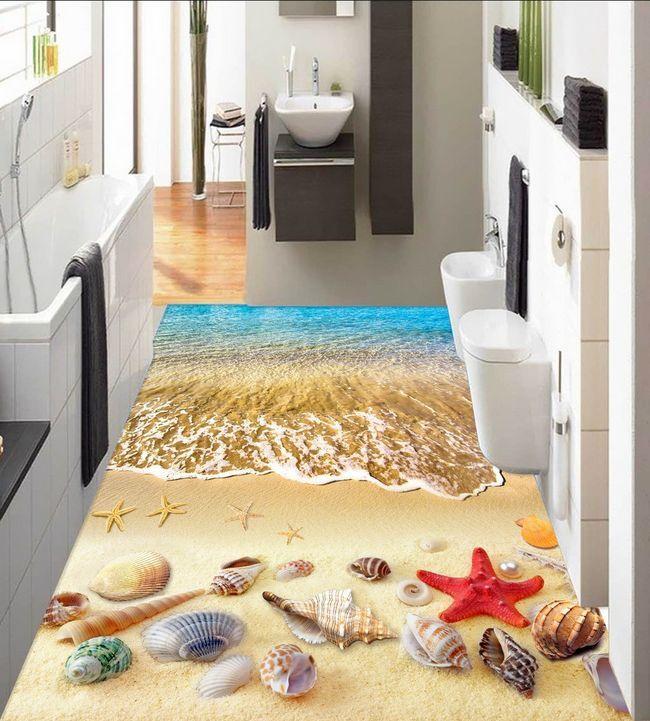 3D Plage 781 Fond d'écran étage Peint en Autocollant Murale Plafond Chambre Art