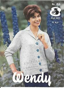 "wendy DK Knitting Pattern Ladies Cardigan Jacket Size 32//42/"" Chest"