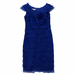 London Times Womens Regular size 12 Blue Chiffon Ruffle Sleeveless Sheath Dress
