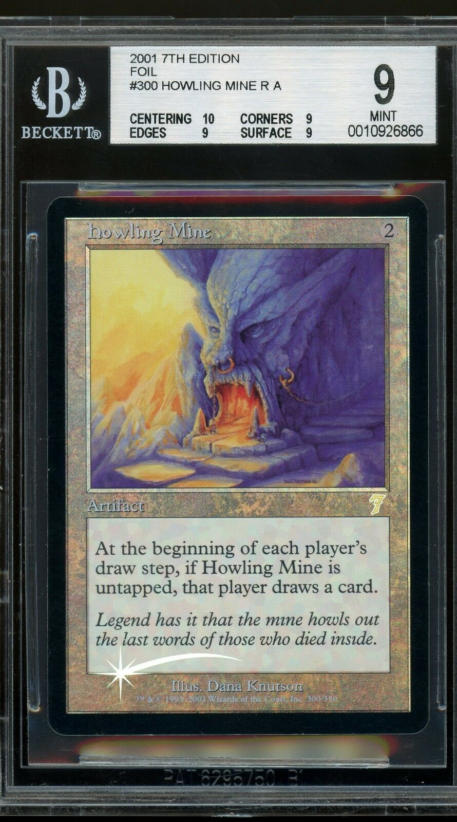 Howling Mine - 7th Edition foil, BGS 9 9 9 MINT. MTG (pop 1 of 2) 3ae777