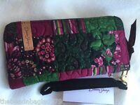 Donna Sharp Canterbury Patch Zippered Wallet Cranberry Pink Green