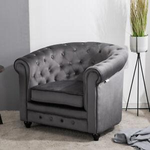 Velvet Fabric Grey Chesterfield Sofa Button Tub Armchair