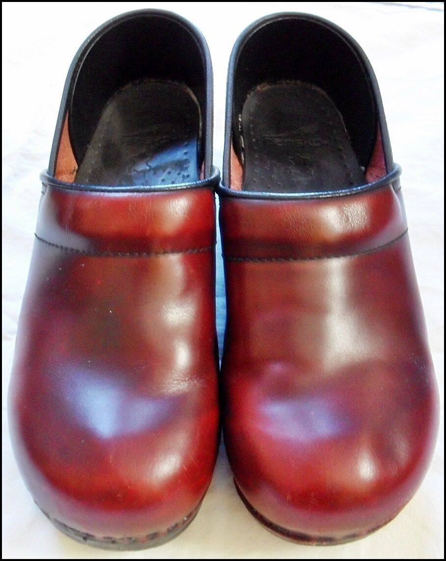 Dansko Borgoña  Cuero Zuecos Zapatos Rojo   Borgoña 40 enfermera 22ee24