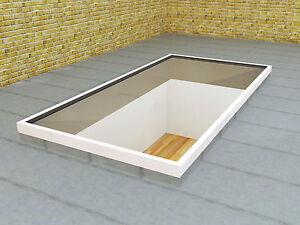 Slim-White-Low-Lying-Flat-Aluminium-Roof-Lantern-Glass-Rooflight-Sky-light