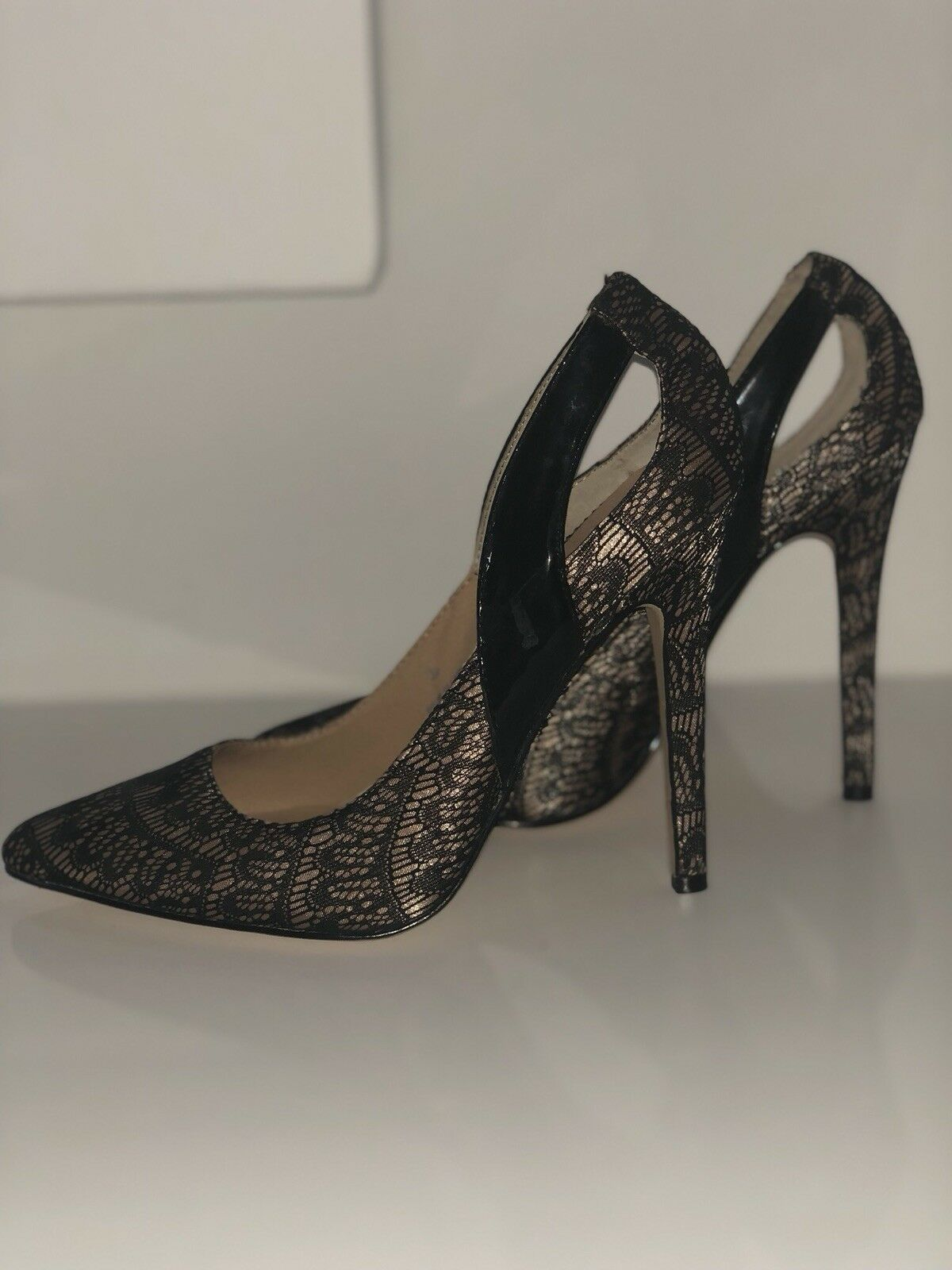 Asos Women's Pumps Heels Black Lace UK 5