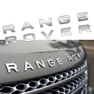Range-Rover-Rear-Trunk-Front-Bonnet-Badge-Brand-New-in-Matte-SILVER