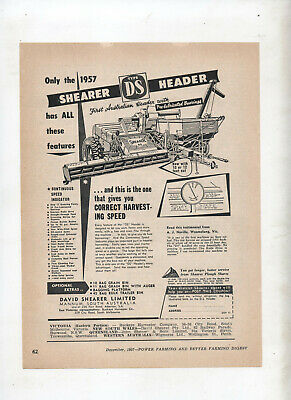 Other Media Impartial Type Ds Shearer Header Advertisement From A 1957 Farming Magazine Industrial