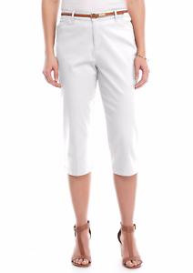 Gloria Vanderbilt Ladies/' Anita Belted Capri Casual Summer Pants