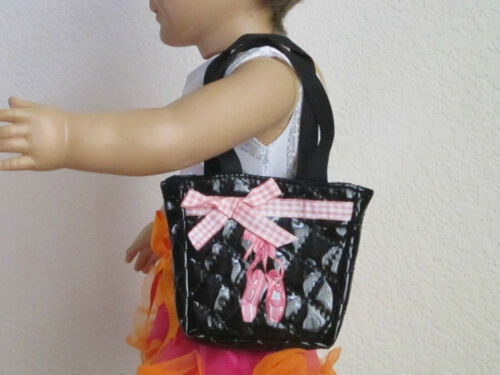 QUILTED BLACK TOTE BAG features PINK BALLET BALLERINA SLIPPERS fit American Girl