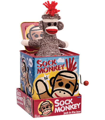 SALE! SOCK MONKEY JACK IN THE BOX SCHYLLING TIN TOY