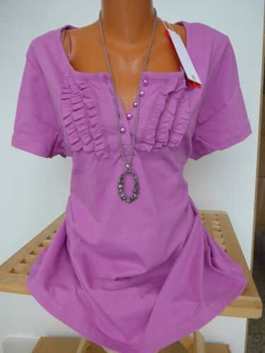 977 Sheego shirt taille 44//46 manches courtes avec volants NEUF
