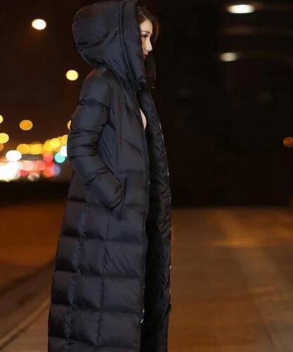 womens winter long over knee extra long thick lady hooded collar down jackets