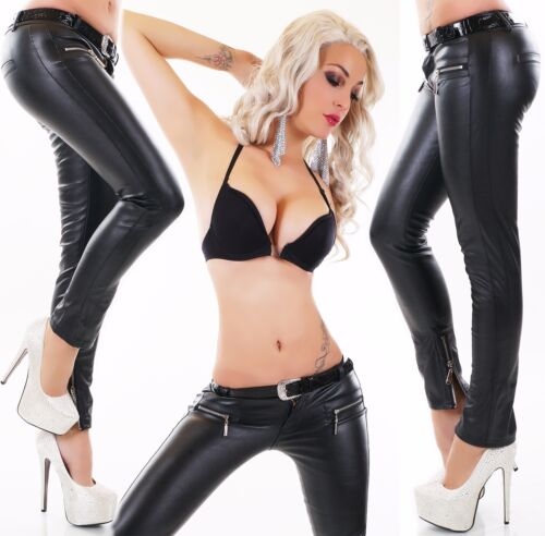 Ladies Faux Leather Trousers Pants Imitation Low-Rise Wetlook Biker Style Belt