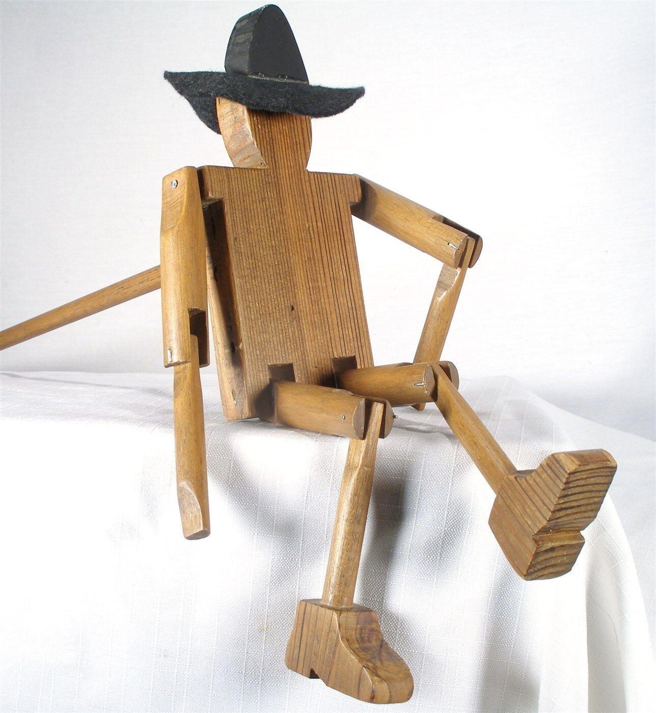 Antiguo Arte Popular Muñeca de madera de vaquero palo limberjack Jig mano artista intérprete o ejecutante Marioneta
