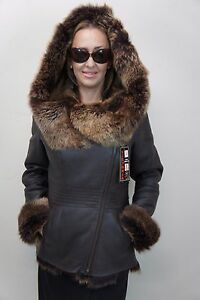 Brown-100-Sheepskin-Toscana-Shearling-Leather-Hood-Winter-Coat-Jacket-XS-6XL