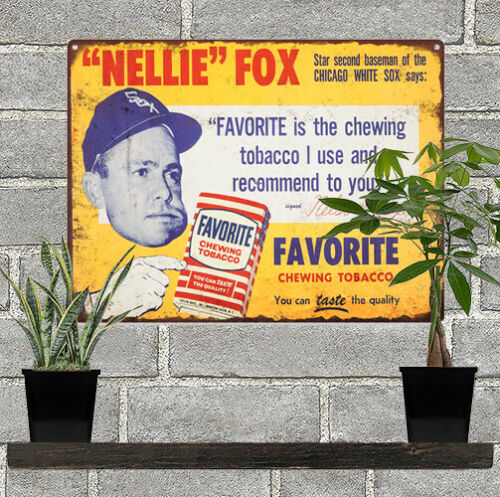 1950s Nellie Fox Tobacco Baseball Advertising Metal Repro Sign 9x12 60087