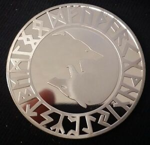 Viking Yin Yang Wolf & Tree of Life Silver Coin Medallion Token Valhalla Odin