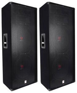 2-Rockville-RSG15-24-Dual-15-3000-Watt-3-Way-4-Ohm-Passive-DJ-PA-Speaker