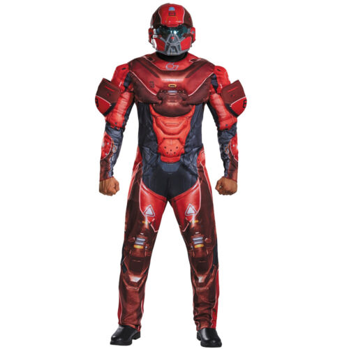 MENS HALO SPARTAN LOCKE COSTUME DELUXE MUSCLE CHEST ADULT COSPLAY FANCY DRESS
