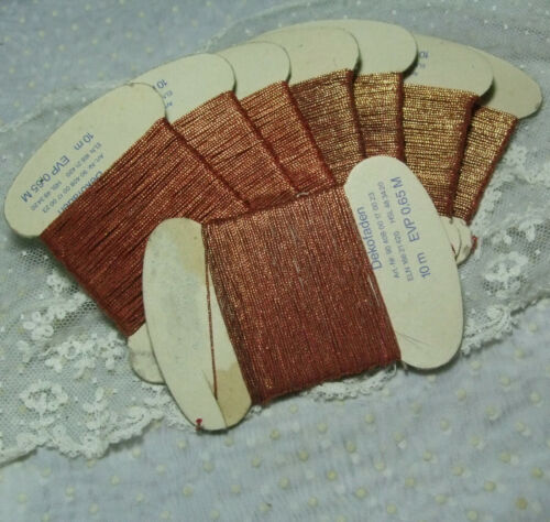 Ombre Gold Copper Red Metallic embroidery thread changing color vtg 11 yard card