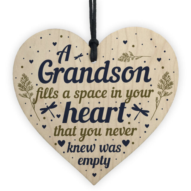 Grandson Plaque Keepsake Wooden Heart Birthday Christmas Gift From Grandma Nan