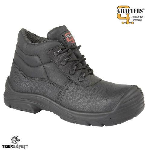 Grafters M9548A Black Waterproof Steel Toe Cap EEEE Wide Fit Chukka Safety Boots