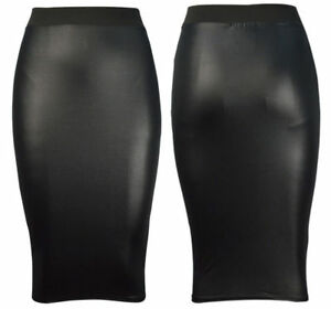 WOMENS-WET-LOOK-FAUX-LEATHER-PENCIL-WIGGLE-BODYCON-HIGH-WAISTED-MIDI-SKIRT-wtmdi