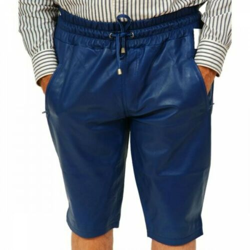 MEN/'S LAMBSKIN LEATHER SHORTS BLUE ELASTICIZED WITH  POCKETS