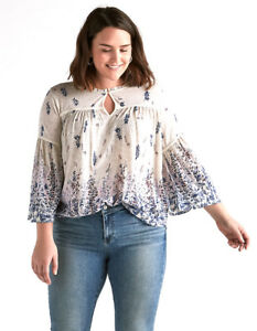 LUCKY-BRAND-3X-NWT-White-amp-Blue-Floral-Cotton-Keyhole-Peasant-Top-Blouse