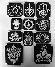 bm2017 set buddha GLITTERTATTOO 11 diff stencils lotus zen hamsa glitter tattoo