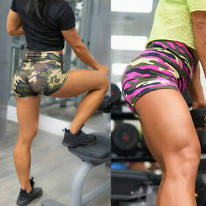 Women-039-s-Trousers-Shorts-High-Elastic-Waist-Yoga-Gym-Sports-Camouflage-Jogging