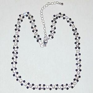 Prong-set-clear-rhinestone-black-acrylic-beads-on-rings-fashion-necklace-16-034-18-034