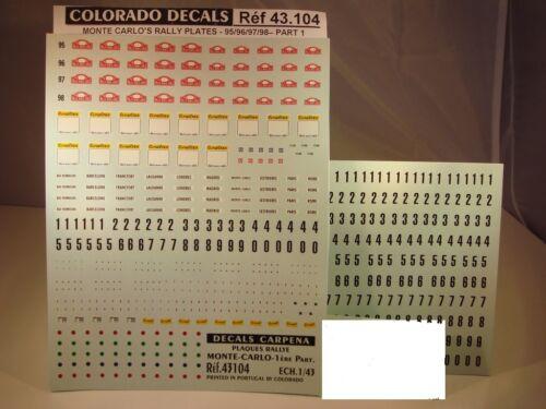 COLORADO  43104 DECALS 1//43 PLAQUES RALLYE DE MONTE CARLO 1995 à 1998