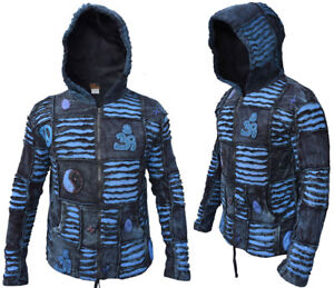 Details about Men Jacket Ribs Psychedelic Gothic Om Blue Embroidery Elf Pointed Hippie Hoodie